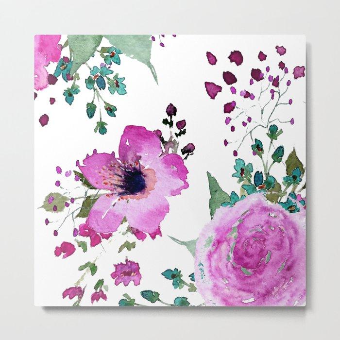Poppies Roses Wildflowers Fushia Metal Print
