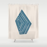 geode Shower Curtains featuring Geode I - in Sapphire by Amber Barkley