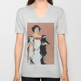 Woman With Cats Unisex V-Neck