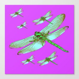 PANTENE ULTRA VIOLET PURPLE EMERALD DRAGONFLIES ART Canvas Print