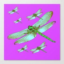 PANTENE ULTRA VIOLET PURPLE EMERALD DRAGONFLIES ART Canvas Print