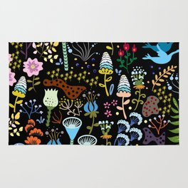 Seamless pattern with bright multicolored decorative flowers on a black background Rug