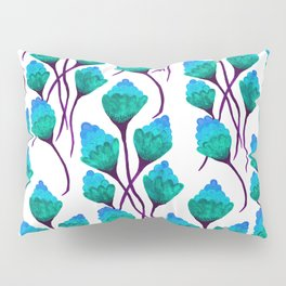 Blue watercolor ponpon flower Pillow Sham