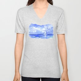Sailboat on the Ocean Watercolor Unisex V-Neck