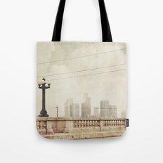 June Gloom. downtown Los Angeles skyline photograph Tote Bag