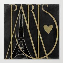 I Love Paris Black Canvas Print
