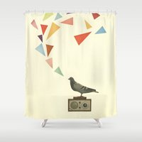 radio Shower Curtains featuring Pigeon Radio by Cassia Beck