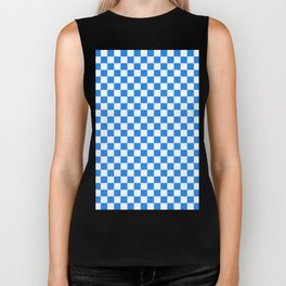 Small Checkered - White and Dodger Blue Biker Tank