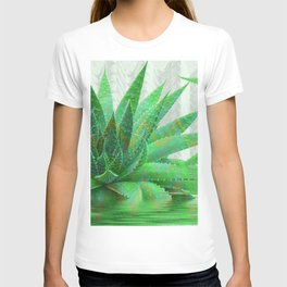 Painted Aloe Plant Serenity in Green T-shirt