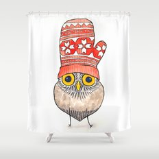 mitten owl Shower Curtain
