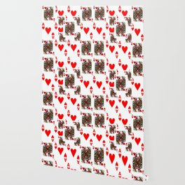 RED QUEEN OF HEARTS  & ACES PLAYING CARDS ARTWORK Wallpaper