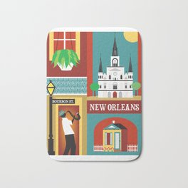 New Orleans, Louisiana - Collage Illustration by Loose Petals Bath Mat