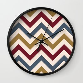 Funky Zigzag Pattern Gold Red Blue Cream Wall Clock
