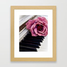 Piano Keys With Rose Framed Art Print