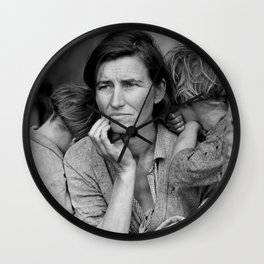 Migrant Mother by Dorothea Lange - The Great Depression Photo Wall Clock
