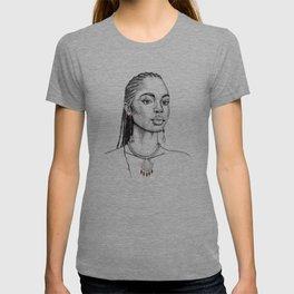 Garnet Mermaid Portrait - January Birthstone T-shirt