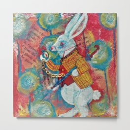 I'M LATE, Wonderland Rabbit - Mixed Media Metal Print