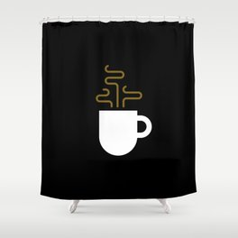 Coffee Cup Black Shower Curtain