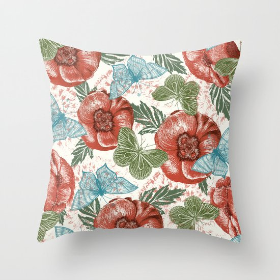 Poppies and Butterflies Pattern Throw Pillow
