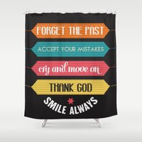 quotes Shower Curtains featuring life quotes by Claudia balasoiu