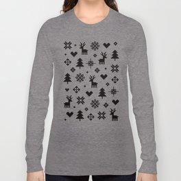 PIXEL PATTERN - WINTER FOREST Long Sleeve T-shirt
