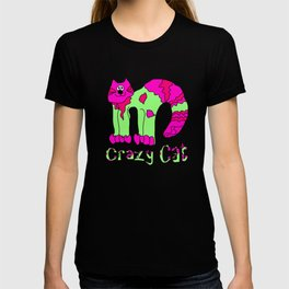 Crazy Cat Pink and Green T-shirt