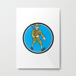 World War One Soldier British Marching Circle Cartoon Metal Print
