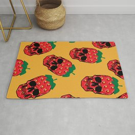Skull Strawberries  Rug