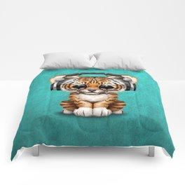 Cute Tiger Cub Dj Wearing Headphones on Blue Comforters