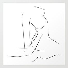 Erotic art, One Line Sexual Printable, Nude Female Body,  Sensual Erotic Art Print
