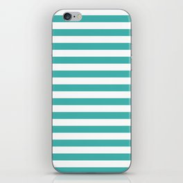 Narrow Horizontal Stripes - White and Verdigris iPhone Skin