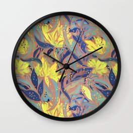 Painted Floral Pattern Wall Clock