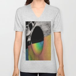 Rainbow Moon Craters Unisex V-Neck