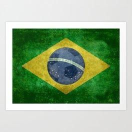 Flag of Brazil with football (soccer ball) retro style Art Print