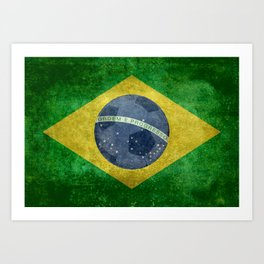 Flag of Brazil with football (soccer ball) retro style Art Print