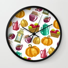 Autumn  Pattern with Food and Drink and Lamp Wall Clock