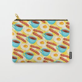 Coffee, Bacon & Eggs Pattern - Yellow Check Carry-All Pouch