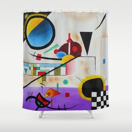 1924 Classical Masterpiece 'Contrasting Sounds' by Wassily Kandinsky Shower Curtain