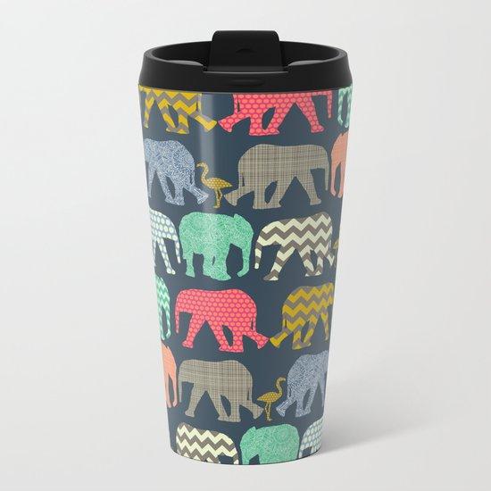 baby elephants and flamingos Metal Travel Mug