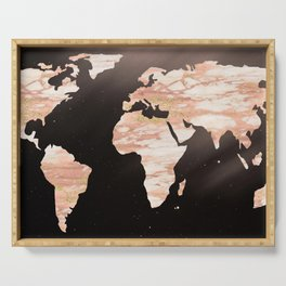 Earth Map Rose Gold Glitter Marble Space Serving Tray