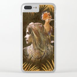 Vintage Decorative Girl and Bird Portrait Clear iPhone Case