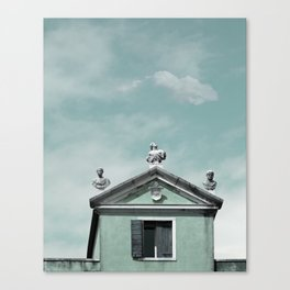 Mint Building on Aqua with Clouds and Sculptures Canvas Print