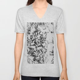Abstract black white geometric paper triangles pattern Unisex V-Neck