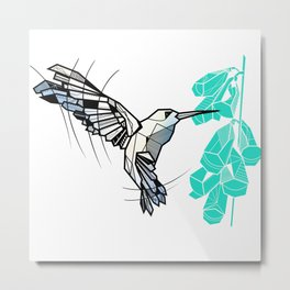 Hummingbird geometric Metal Print