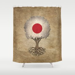 Vintage Tree of Life with Flag of Japan Shower Curtain