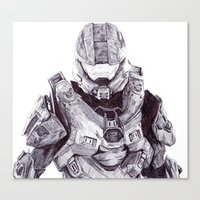 master chief Canvas Prints featuring Master Chief by DeMoose_Art