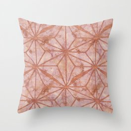 North Star Rose Gold Metal Marble Abstract Throw Pillow