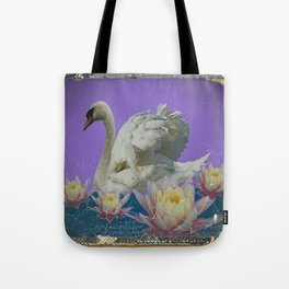 Grungy White Swan & Water Lilies Lilac Art Patterns Tote Bag