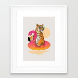 Chillin (Flamingo Tiger) Framed Art Print