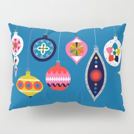 Retro Christmas Baubles on a dark background Pillow Sham